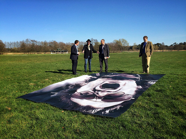 Nick with Paul Reeve and Andy Grand of Structure-flex, and James Hall, Estate Manager, in front of a proto-type exhibition print at Cholmondeley Castle during the planning of Size Matters.